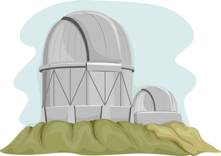 observatory: Illustration of a Telescope Facility on Top of a Hill
