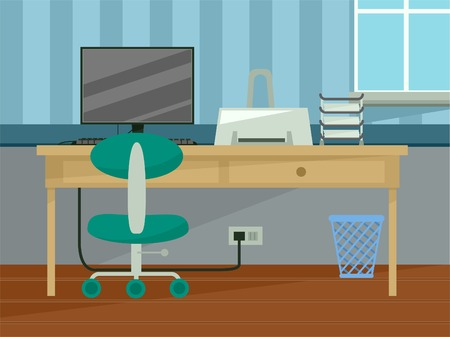 study table: Illustration Featuring the Interior of a Home Office