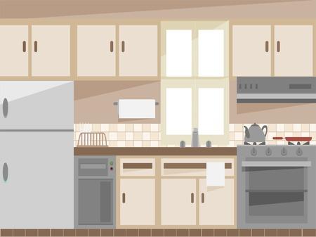 cocina caricatura: Ilustración con el Interior de una cocina
