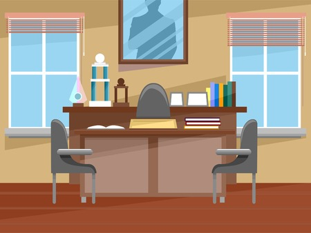 featuring: Illustration Featuring the Interior of a Principals Office