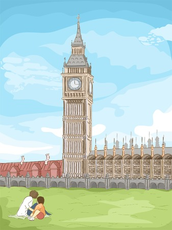 elizabeth tower: Sketchy Illustration of Big Ben in London Illustration