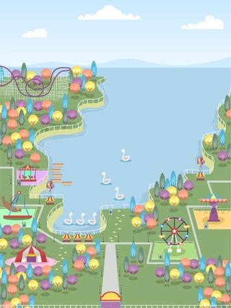 amusement park rides: Illustration of a Theme Park with Plenty of Differrent Rides