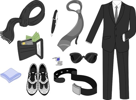 men's shoes: Illustration Featuring Typical Male Clothing and Accessories