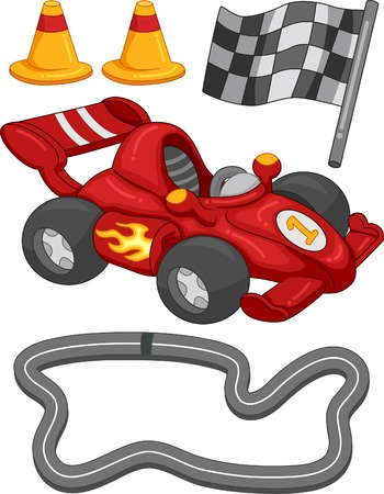 racer flag: Illustration Featuring Different Race Car Elements Illustration