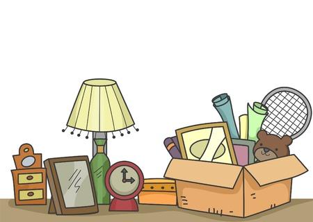 Illustratie van de oude items die staan te worden geschonken