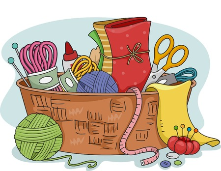 Illustration Featuring Different Materials Used in Rug Hooking