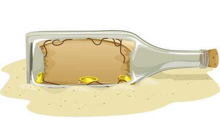 Illustration of a Treasure Map Tucked Inside a Bottle Vector