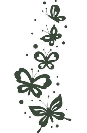 fluttering: Stencil Illustration Featuring Butterflies Fluttering About