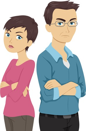 Illustration of an Older Couple with Their Backs Turned Against Each Other Vector