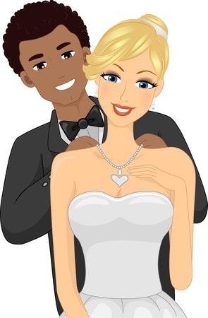 biracial: Illustration of an African-American Guy Putting a Necklace on His Caucasian Girl