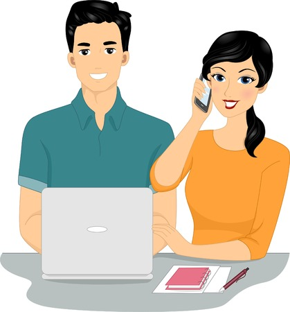 Illustration of a Couple Managing an Online Business Together Vector