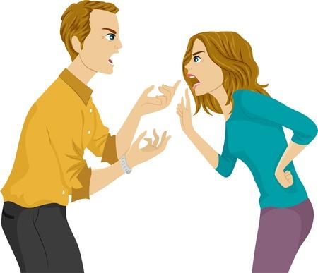 夫と妻の論争の図