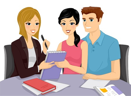 Illustration d'un couple d'avoir une discussion avec un planificateur de mariage