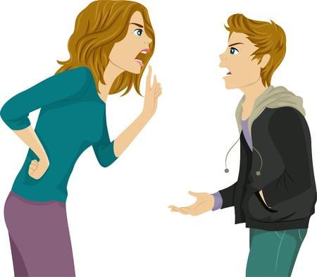 personas discutiendo: Ilustración de un Madre e hijo Argumentando