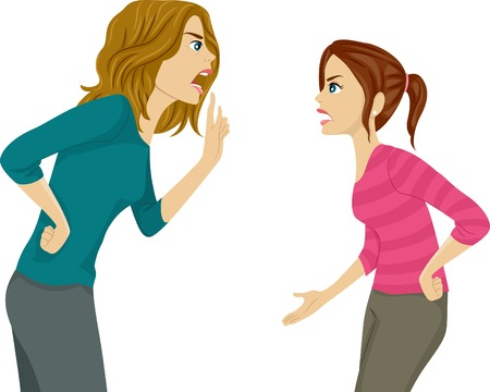 reprimand: Illustration of a Mother and Daughter Arguing Illustration