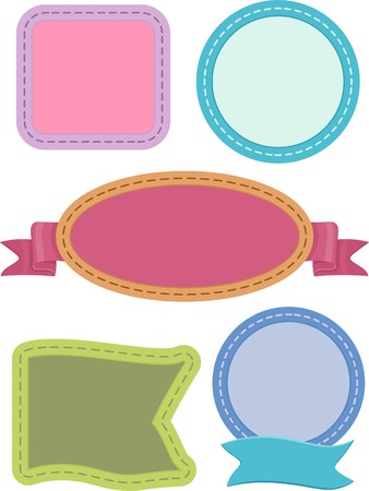 stitching: Illustration Featuring Ready to Print Labels with Stitches for Design