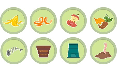 Illustration of Ready to Print Stickers Featuring Composting Icons Vector