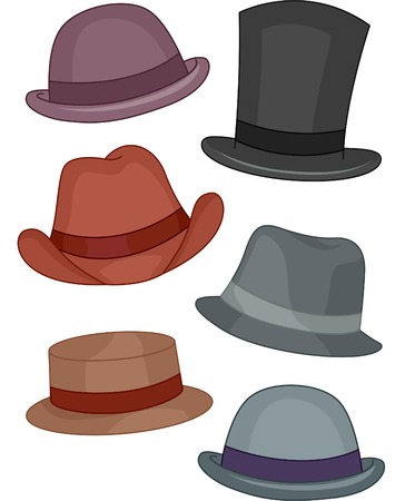 fedora hat: Illustration Featuring Different Types of Mens Hats
