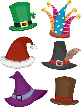 gorros de fiesta: Ilustraci�n con diferentes sombreros de fiesta