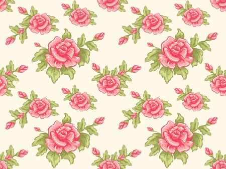 girly: Background Illustration Featuring a Seamless Floral Design Illustration