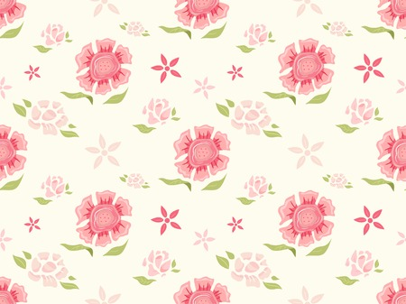 flowery: Background Illustration Featuring a Seamless Floral Design Illustration