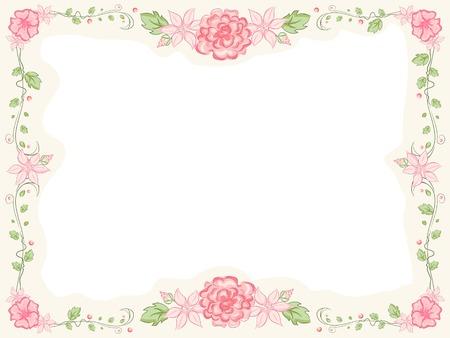 Shabby Chic-cadre thème Doté fleurs entrelacés Banque d'images - 29571742