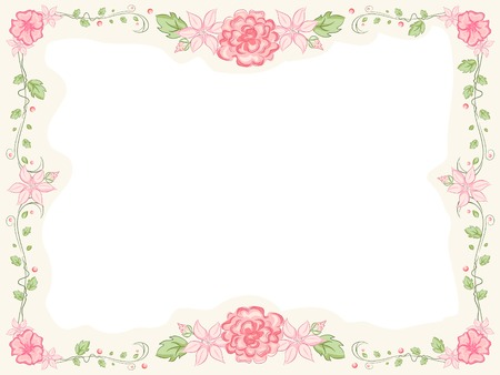 Shabby Chic-Themed Frame Featuring Intertwined Flowers 向量圖像