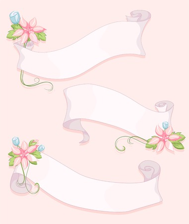 fade out: Shabby Chic-Themed Ribbons with Flowers Attached to Them Illustration