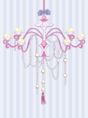 fixture: Shabby Chic Illustration Featuring a Chandelier