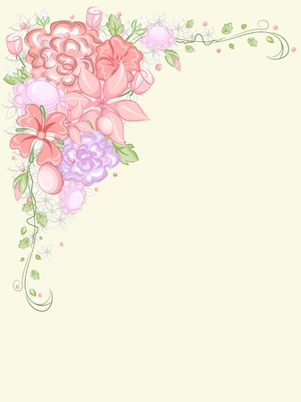 Corner Border Illustration Featuring a Clump of Colorful Flowers Vector