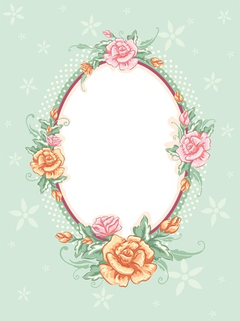 Shabby Chic-Themed Frame Featuring Intertwined Flowers Vector