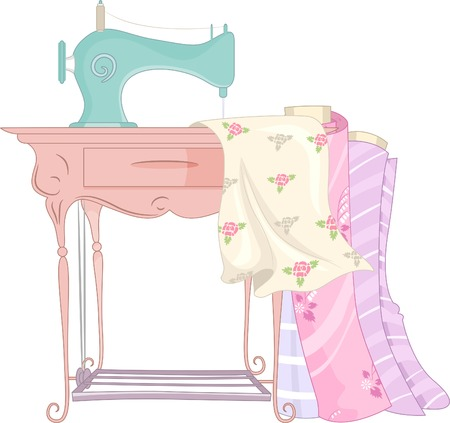 sewing machine: Shabby Chic Illustration Featuring a Treadle Sewing Machine