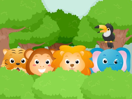 Illustration Featuring Cute Safari Animals Vector