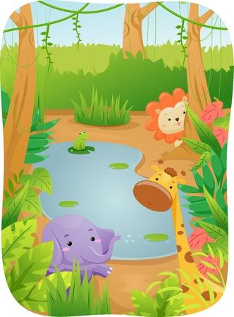 Illustration Featuring Cute Safari Animals