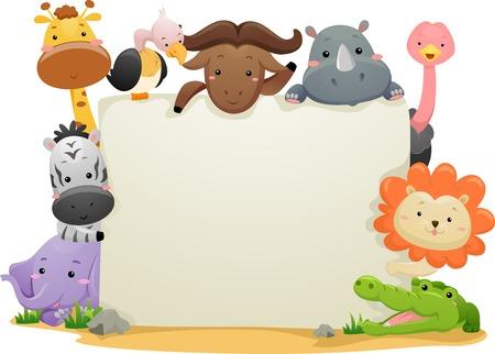 rhinoceros: Banner Illustration Featuring Cute Safari Animals Illustration