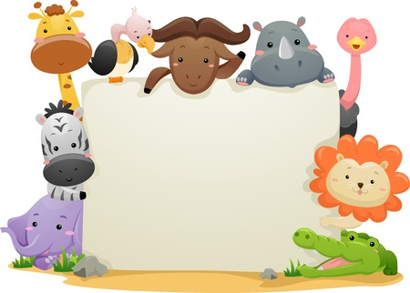 Banner Illustration Featuring Cute Safari Animals Illustration