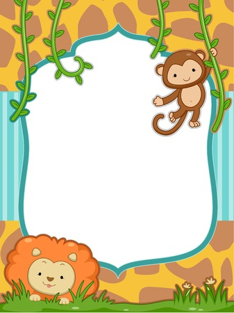 Frame Illustration Featuring a Cute Lion and a Monkey Vector