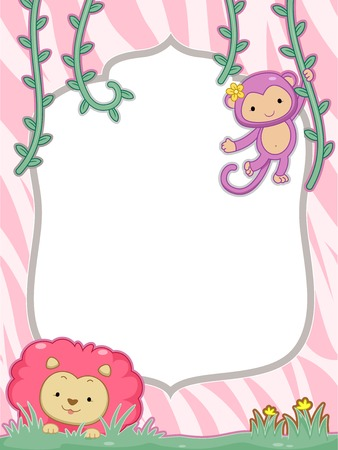 Feminine Frame Illustration Featuring a Cute Lion and Monkey Vector