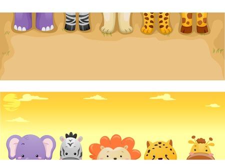 Banner Illustration Featuring Cute Safari Animals Vector