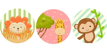 monkey clip: Illustration Featuring Ready to Print Stickers of Safari Animals