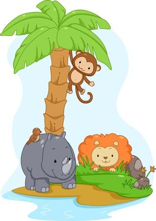 Illustratie Met leuke safari dieren op een eiland Vector Illustratie