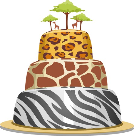Illustration of a Tiered Cake with Safari Prints Vector