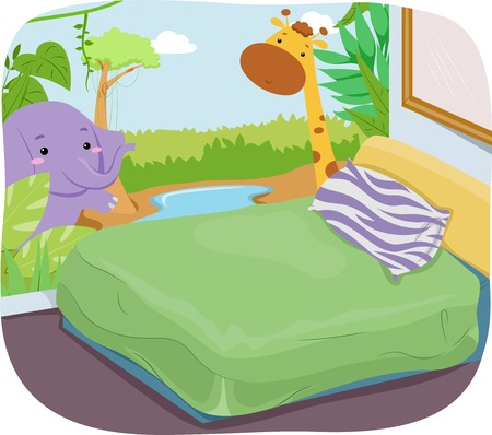 kids' room: Illustration of a Kids Room with a Safari Theme