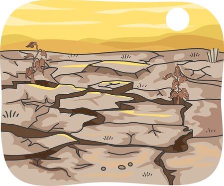 sequias: Ilustración con los efectos de la sequía en una extensión de terreno Vectores