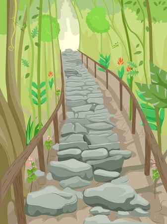 forest path: Illustration of a Flight of Stone Steps That Serve as a Trail in the Forest