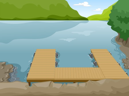 Illustration of a Boat Dock Near a Lake