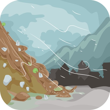 Illustration Featuring a Combination of Mud and Rocks Sliding Down the Ground Below Illustration