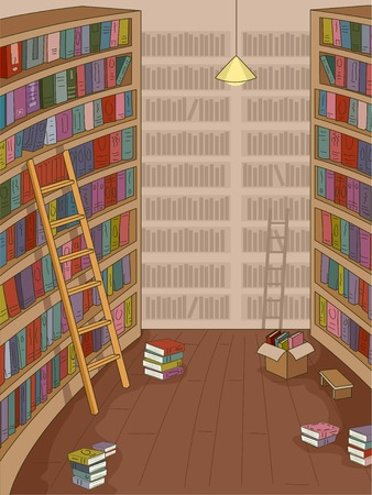 featuring: Illustration Featuring a Library with Books Strewn Around
