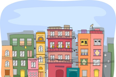 tenement: Illustration Featuring a City Full of Residential Buildings