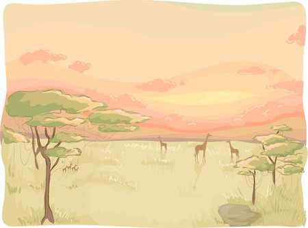 dry land: Sketchy Illustration Featuring a Safari Sunset